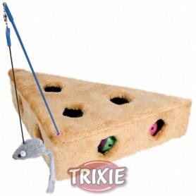 Trozo queso c/agujeros y 3 juguetes, 36x8x26/26 cm
