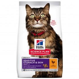 Hill's Science Plan Adult Sensitive Stomach & Skin alimento seco gato pollo