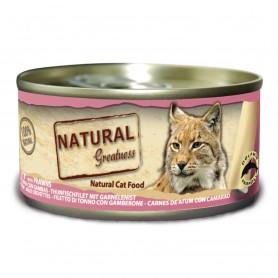 Natural Greatness filete de atún con gambas gatos adultos (lata)