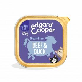 Edgard & Cooper, pack 19 tarrinas sin cereales con vacuno y pato para gatos adultos