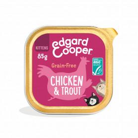 Edgard & Cooper, pack 19 tarrinas sin cereales con pollo y trucha ASC para gatitos