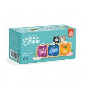 Edgard & Cooper Multipack 6x85g de Comida Húmeda Gatos. Bacalao, Venado y Pavo