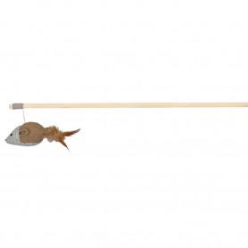 Varita madera, Yute, ratón con plumas, 50 cm