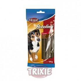 12 Rotolinis, Ternera, 12 cm,120 grs., Snacks para perros, golosinas suaves