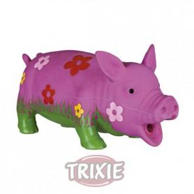 Cerdo látex floreado,sonido original animal,20 cm