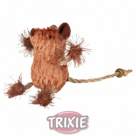 Ratón tela para Gatos, Marrón-Beige, 8 cm