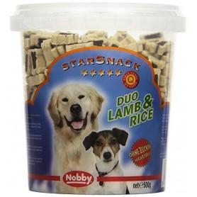 Nobby Duo Bones Cordero y Arroz, Snacks para perros, golosinas suaves