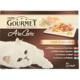Purina Gourmet a la Carte Receta del Chef con Pollo, Trucha, Buey y Bacalao. Comida húmeda para gatos