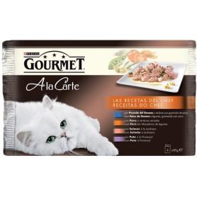 Purina Gourmet a la Carte Receta del Chef con Pescado del Océano, con Pavo, con Salmón y Pato.