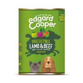 Comida húmeda Edgard & Cooper, latas sin cereales con cordero y vacuno para perros adultos