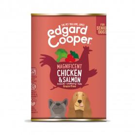 Edgard & Cooper, latas sin cereales con pollo y salmón para perros senior