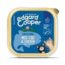 Edgard & Cooper, tarrinas sin cereales con pollo y bacalao MSC para gatos adultos