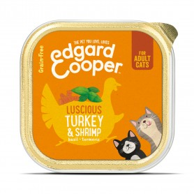 Edgard & Cooper, tarrinas sin cereales con pavo y gambas para gatos adultos
