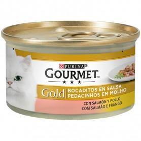 comida húmeda  Purina Gourmet Gold Bocaditos en Salsa con Salmón/Pollo