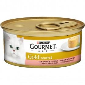 comida húmeda para gatos Purina Gourmet Gold Soufflé Salmón
