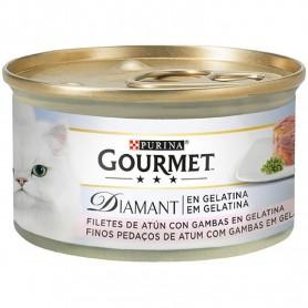 comida húmeda para gatos Purina Gourmet Diamant Láminas de Atún en Gelatina con Gambas