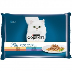 comida húmeda para gatos Purina Gourmet Perle Finas láminas en Salsa con Pavo, Atún, Pato y Cordero