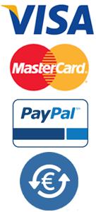 Visa, Mastercard, Paypal, Transferencia Bancárea
